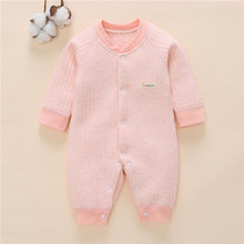 One-Piece Jumpsuits Buttons-Up 100% Cotton Long-Sleeves Pink Cute Coveralls 0-12 Months