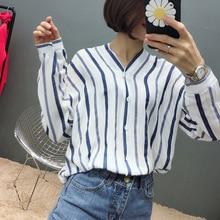2019 Special Offer New Arrival Full Unicorn Kpop Womens Free Shipping Temperament Korean Vertical Stripes Long-sleeved Shirt