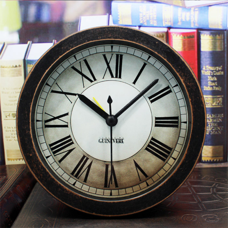 living room clocks ouyun european style retro rome digital small wood alarm 10229