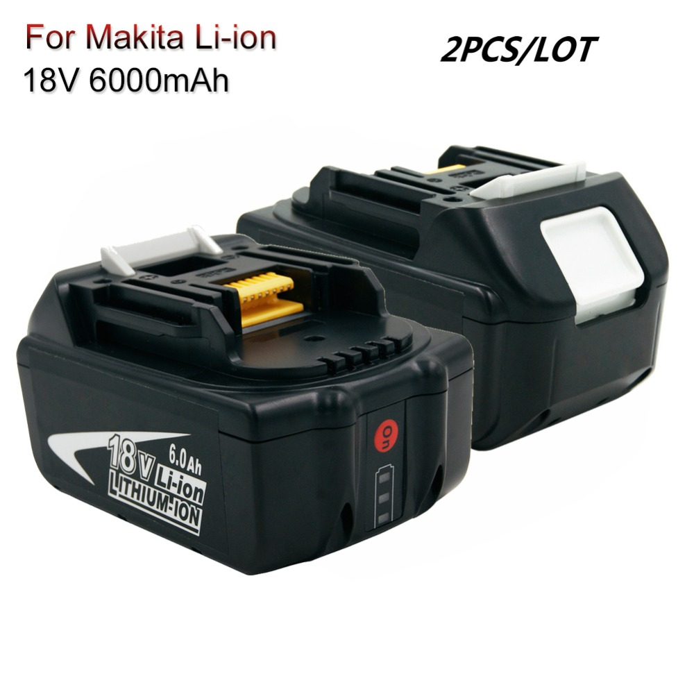 2PCS BL1860 Rechargeable Battery With LED 18V 6.0A Li-ion Cordless Power Tools Batteries For Makita BL1830 BL1850 BL1840 LXT400(China)
