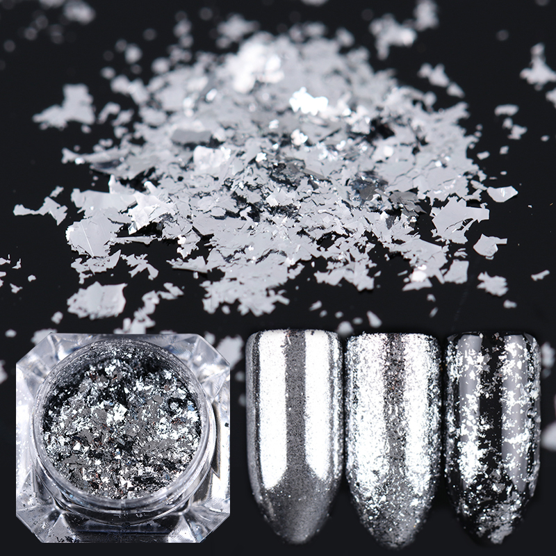 0.2g Silver Flakes Nail Art Sequins Glitter Aluminium Magic Bling - Nagel konst