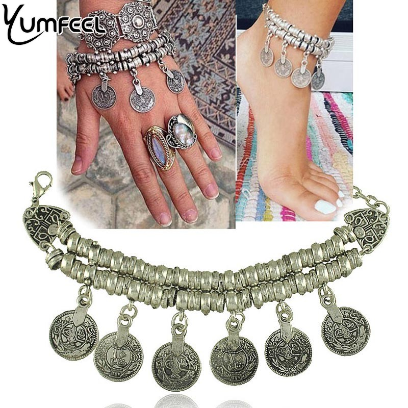Yumfeel New Vintage Coin Charm anklet bracelet for Woman Jewelry Bracelets bells charm layered chain anklet