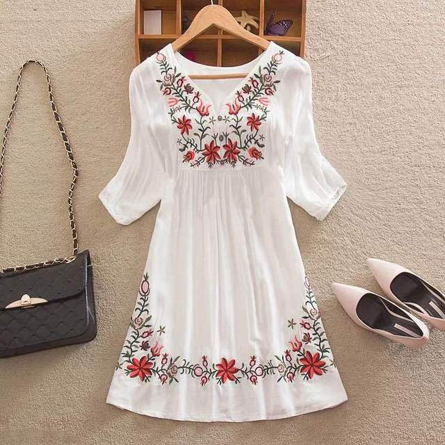 ab2d3550795 Women Mexican Embroidered Floral Peasant Blouse Vintage Ethnic Tunic Boho  Hippie Clothes dressy tops