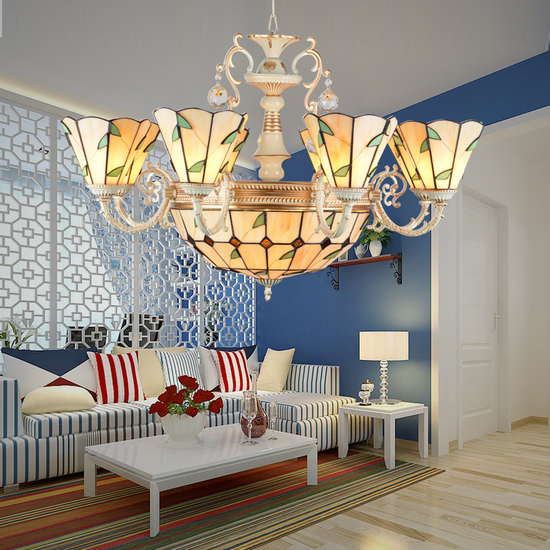 Tiffany Baroque Stained Glass Suspended restaurant Luminaire E27 Chain Pendant lights Lighting Lamps for Home Parlor Dining Room