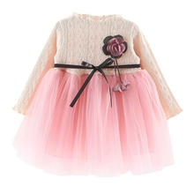 Floral Pageant Spring Girl Cute Princess Dress Long Sleeve Mesh Yarn Dress Children Outfits Clothes цена