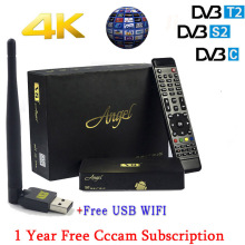 1 Year Spain Cccam Cline Freesat V8 angel Android TV Box DVB-S2 T2/C Digital Satellite Receiver Europe cccam server+1PC USB WIFi