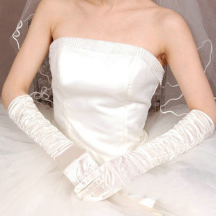 Projeto de longo branco luvas alongar luvas de cetim casamento vestido de noiva luvas vestido formal