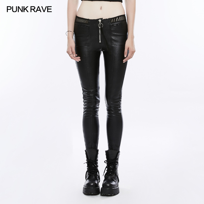 Панк рейв Женские Брюки Панк Мода личность из искусственной кожи черные леггинсы сексуальные хип хоп Уличная одежда обтягивающие брюки