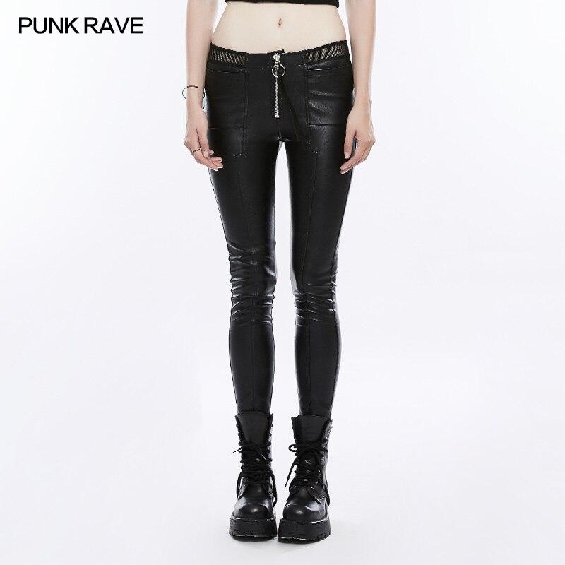 PUNK RAVE Pantaloni Delle Donne Punk di Personalità di Modo di Cuoio Dell'unità di elaborazione Nero Ghette Sexy Hip Hop Streetwear Pantaloni Scarni