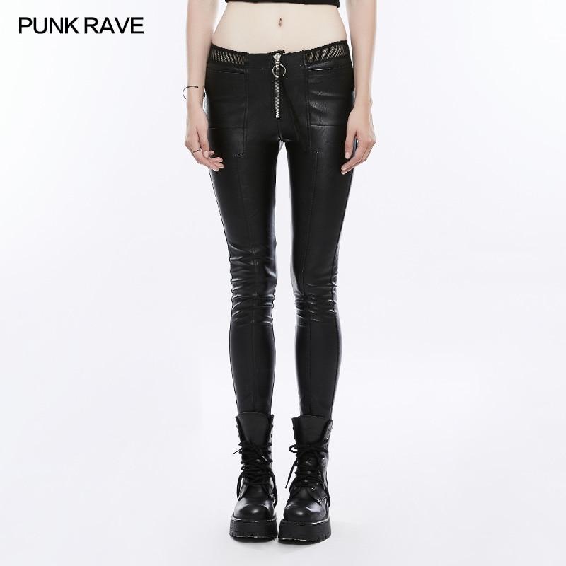 PUNK RAVE Vrouwen Broek Punk Mode Persoonlijkheid Pu Leather Black Leggings Sexy Hip Hop Streetwear Skinny Broek