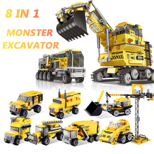 XINGBAO 13002 City Engineering Truck Series 8 IN 1 The Giant Excavator Sets Building Blocks MOC Bricks Compatible Legoings City недорго, оригинальная цена