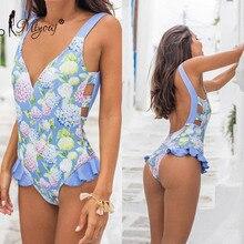 Miyouj Floral Swimsuit Retro Sexy Backless Swimwear Women Deep V-neck Monokini Print Bandage Bathing Suit Ladies One-Piece Suits