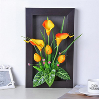 Artificial flower wall hanging simulation plant frame small horseshoe lilies decorative fake flowers creative home decoration cr