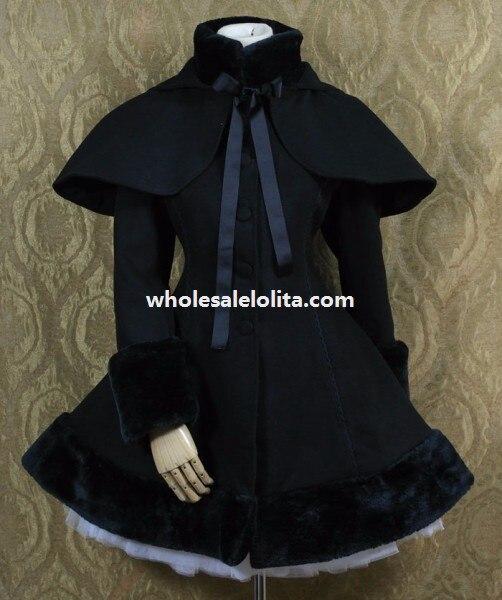 Сладкий черный шерсть Лолита пальто со съемным накидка с капюшоном