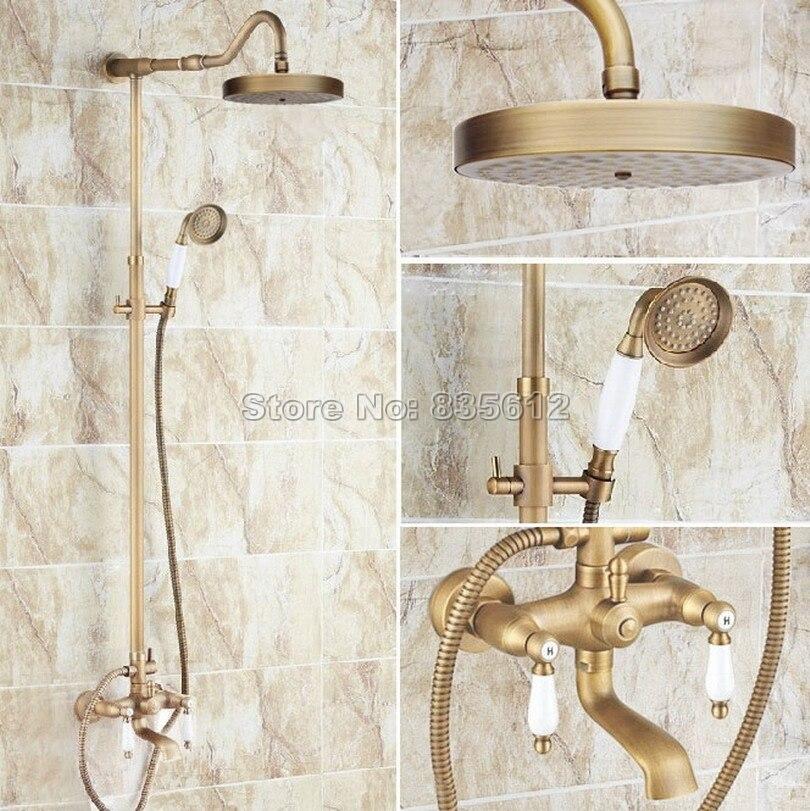Antique Brass Bathroom 7.7 Shower Head Wall Mounted Rain Shower Faucet Set with Dual Ceramic Handles Bathtub Mixer Taps Wrs120