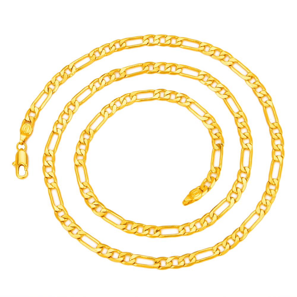Hot Sale Men's 18K Yellow Gold Plated Italy Figaro Chain Necklace 24″ 60CM
