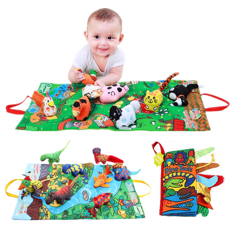 Funny Cute Toy Cloth Book 4 Type Farm/Bush stereo/dinosaur/Rainforest for Baby Education 40% off окт funny farm с сливом салатовый