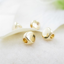 (33203)20PCS 4.5MM hole 2MM 24K Champagne Gold Color Plated Brass Smooth Twisted Beads Spacer Jewelry Findings Accessories
