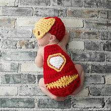 2015 New Newborn Photography Props Knitting Crochet Iron Man Style Baby Hat Mask and Cloak Outfit Infant Photo Costumes