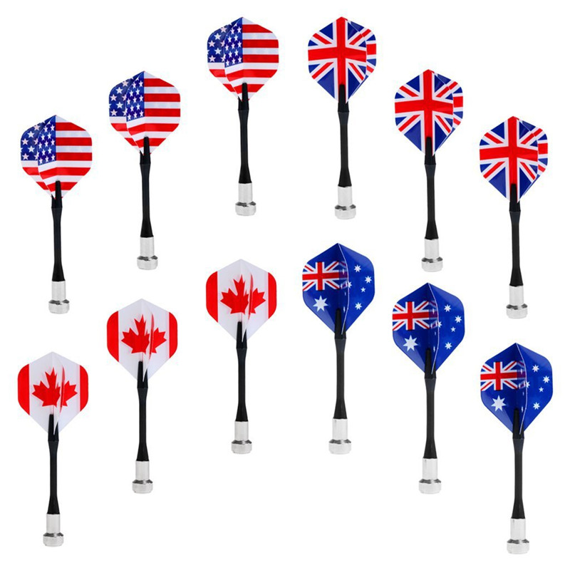 12 Pcs/Set National Flag Flights Darts Family Game Magnetic Safe Dart Magnet Dartboard Supplies Bullseye Target Game Accessories