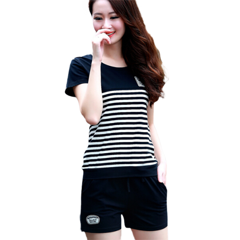 Two Piece Set Women Tracksuits Summer Striped T Shirt Tops+Shorts Women Casual Outfit