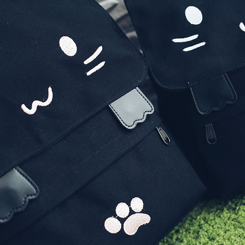 HTB1nRTzOVXXXXalXXXXq6xXFXXXu - Women Cute Cat Backpack Canvas Kawaii Backpacks School Bag for Student Teenagers Lovely Rucksack Cartoon Bookbags Mochilas