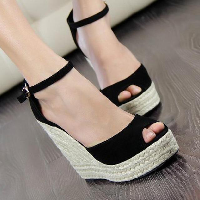 Fashion women's open toe button straw braid wedges platform high heel sandals plus size 32-43