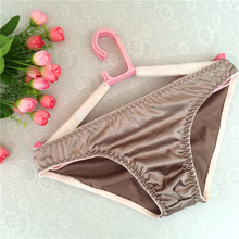 חם חדש חלק מבריק סינטטי משי מוצק צבע גברים של תחתונים סקסי פשעית תחתוני גברים תקצירי תחתונים