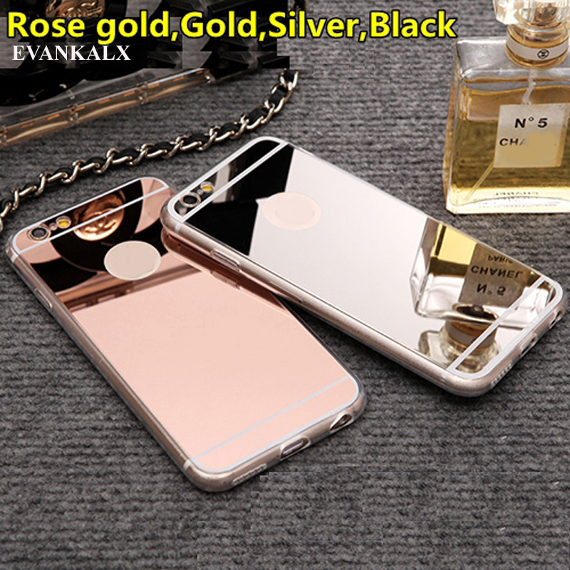 EVANKALX Rose Gold Shinny Mirror Phone Case For iPhone 5s se 5 Ultra Slim Soft TPU Mirror Case For iPhone 7 6 6s 8 Plus Cover