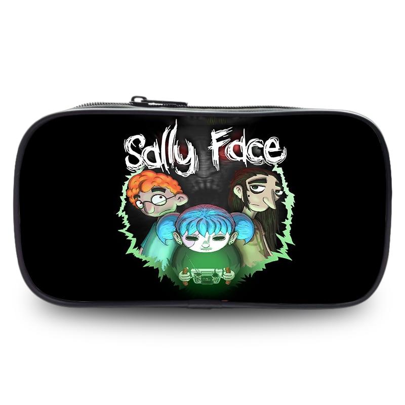 Sally Face Games Cosmetic Cases Fashion Cartoon Printing Pencil Case Girls School Pencil Purse Cartoon Children Pen Coin Bags