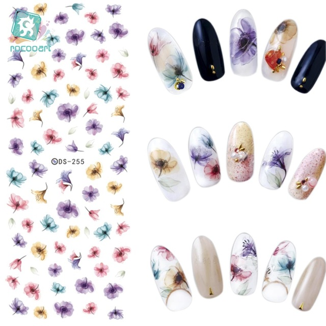 Rocooart DS255 DIY Water Transfer Nails Art Sticker Colorful Purple Fantacy Flowers Nail Stickers Wraps Foil Sticker manicure