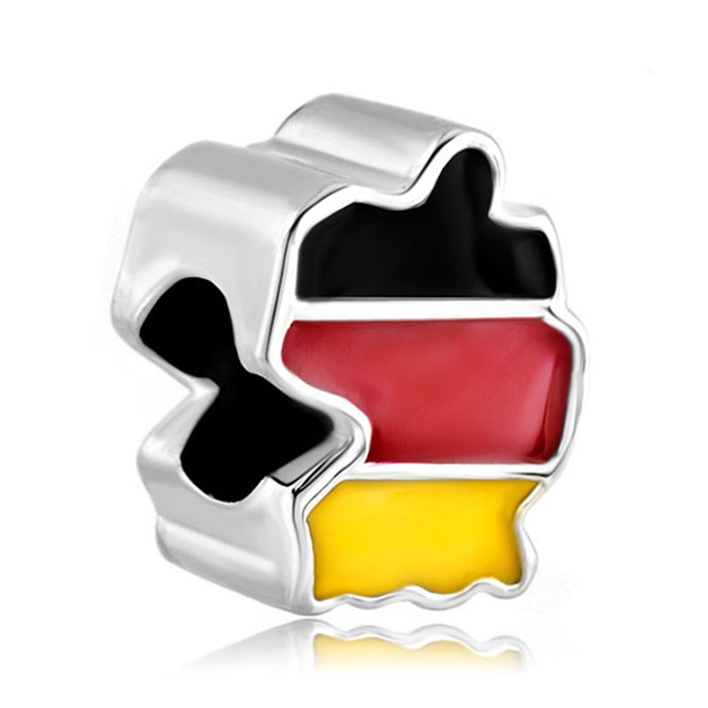 1pc Silver Plated Oil Drip gum Germany Flag country map lucky charms European bead fit pandora charm Bracelets & Necklace