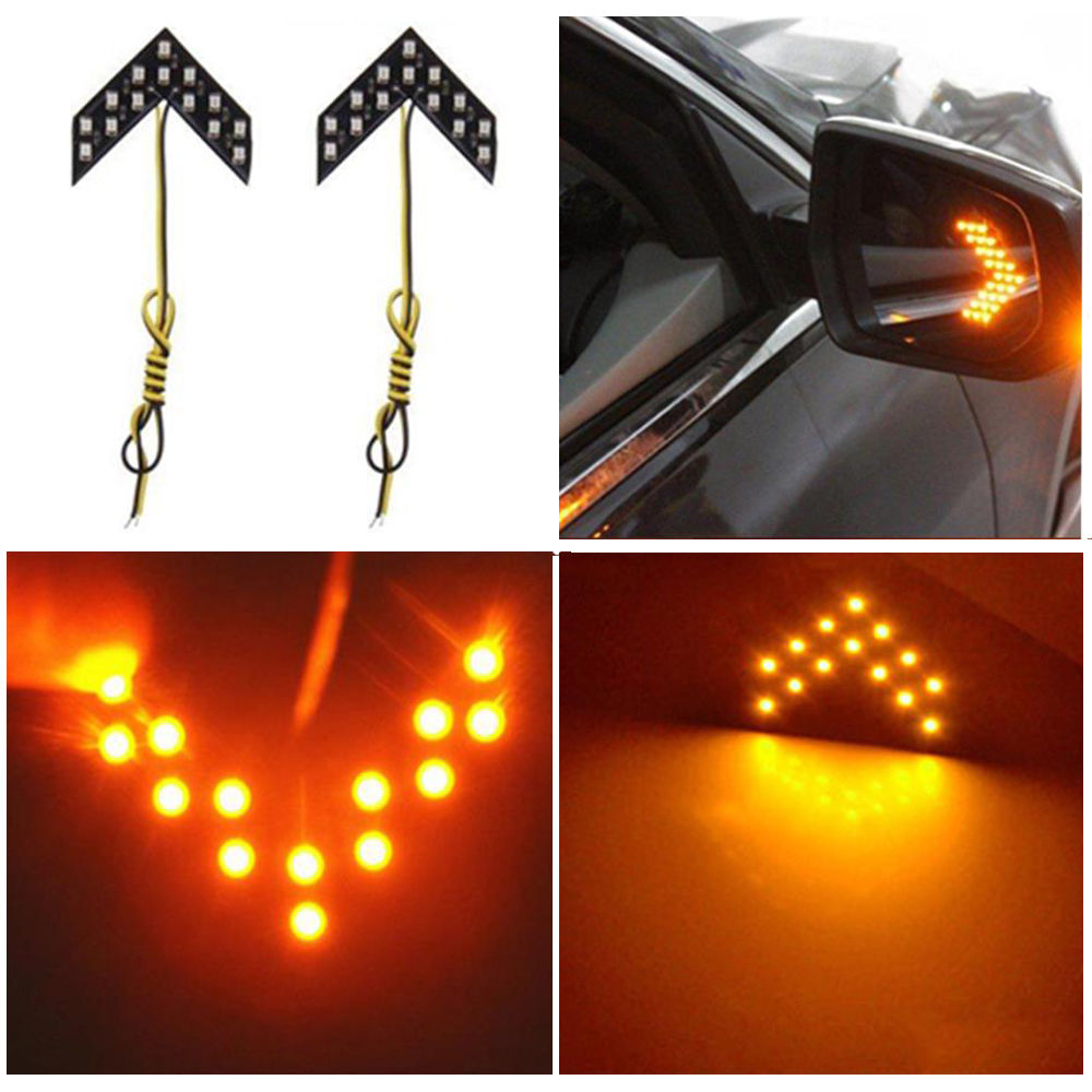 Car Styling Turn Signal Lights Car Singal Lamp 14 SMD LED Arrow Panels For Car Rear View Mirror Indicator Lights Yellow Light