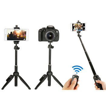 Trípode portátil ajustable de la cámara del teléfono soporte del teléfono inteligente con el palo de Selfie remoto inalámbrico