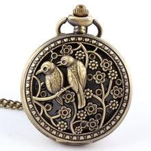 New Lovely Fashion Oco Dial Bonito Pattern Pássaro Quartz Unisex Relógios de Bolso Colar de Corrente