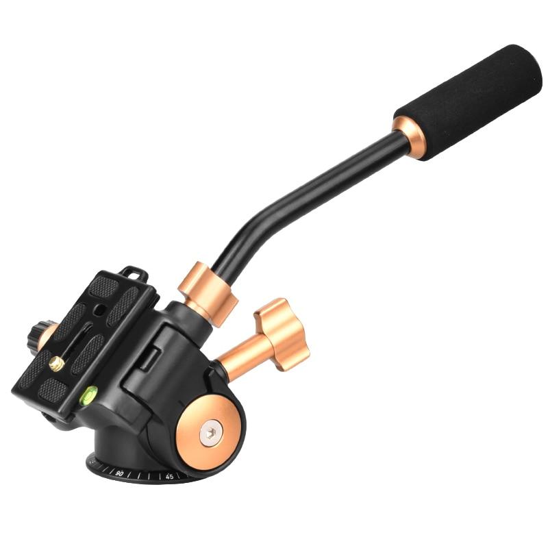 Q08S Aluminum 3-Way Fluid Head Rocker Arm Video Tripod Ball Head for DSLR Camera Tripod Monopod