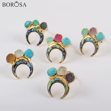 BOROSA 5PCS New Gold Color Horn Natural Abalone Shell & Three Rainbow Agates Druzy Turquoises Manmade Opal Ring Jewelry G1839