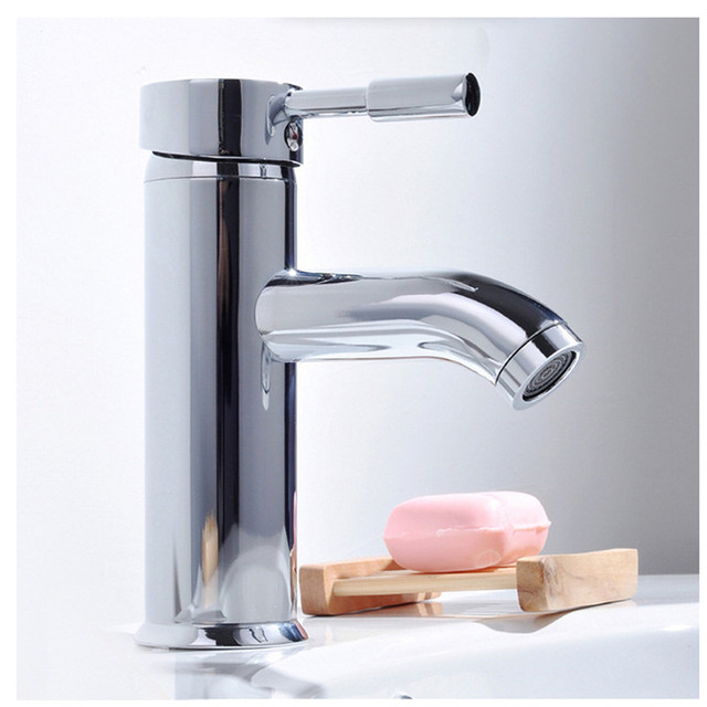 Modern Simple Kitchen Bathroom Sink Faucet Hot Cold Plating Chrome