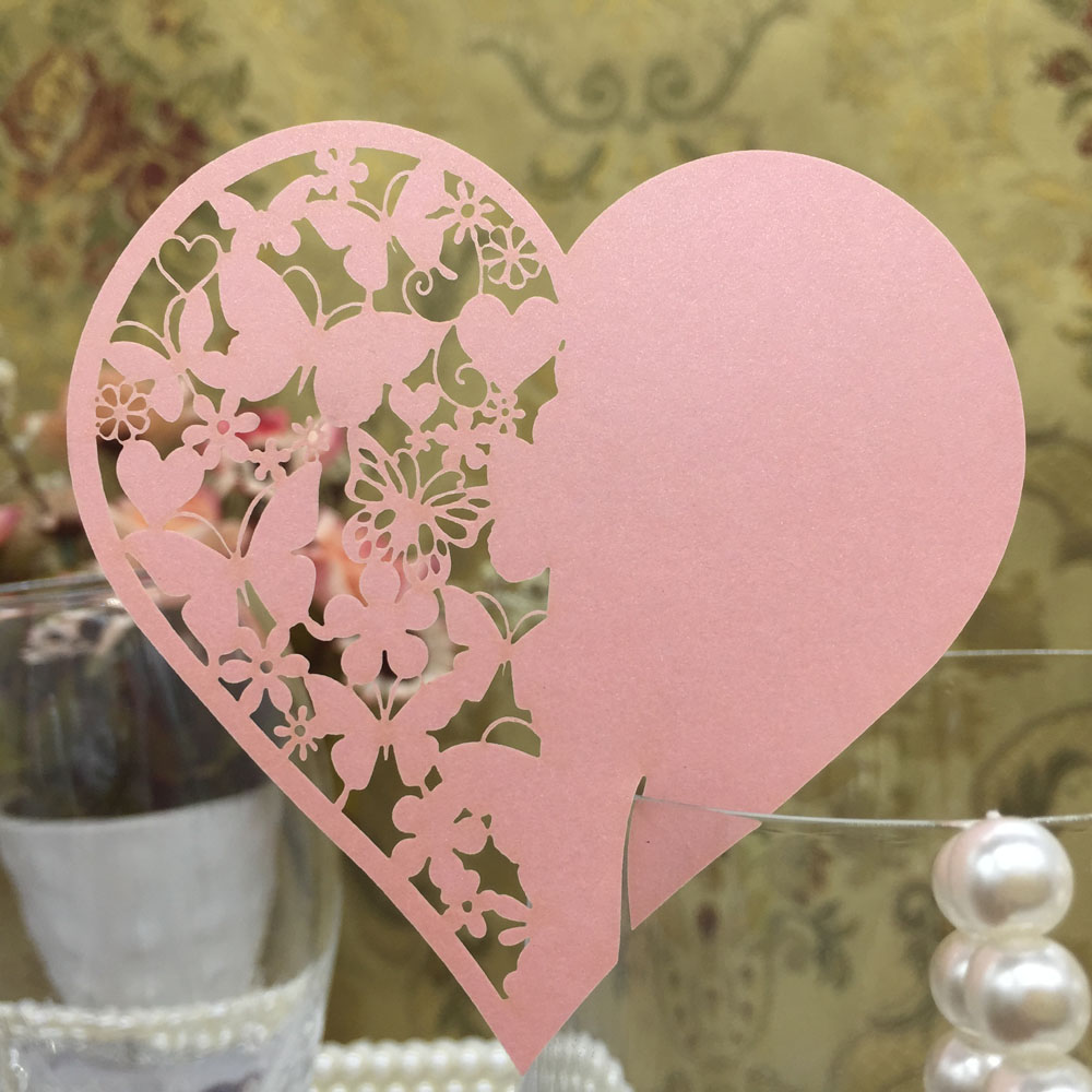 50pcs/lot Laser Cut Love Heart Wine Glass Place Card Wedding ...
