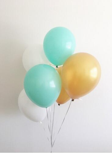 60pcs 10inch Mixed Mint Gold White Latex Balloons Wedding