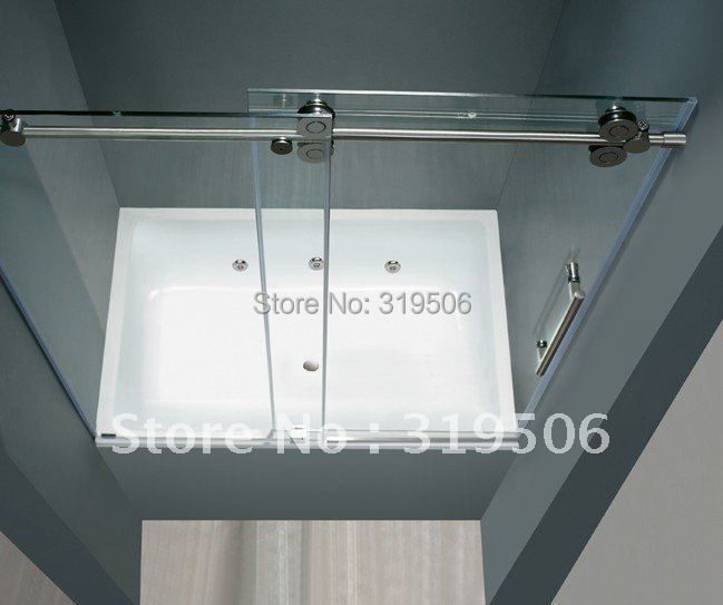 Free Shipping Frameless Sliding Glass Shower Door Full Set