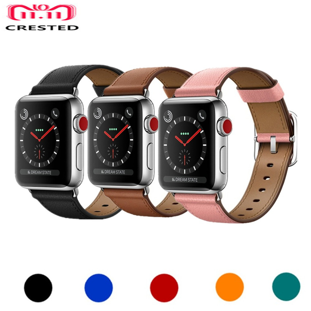 CRESTED Classic Buckle band for apple watch 3 leather band 42mm/38mm iwatch 3 2 1 wrist belt crazy horse leather bracelet strap цена 2017