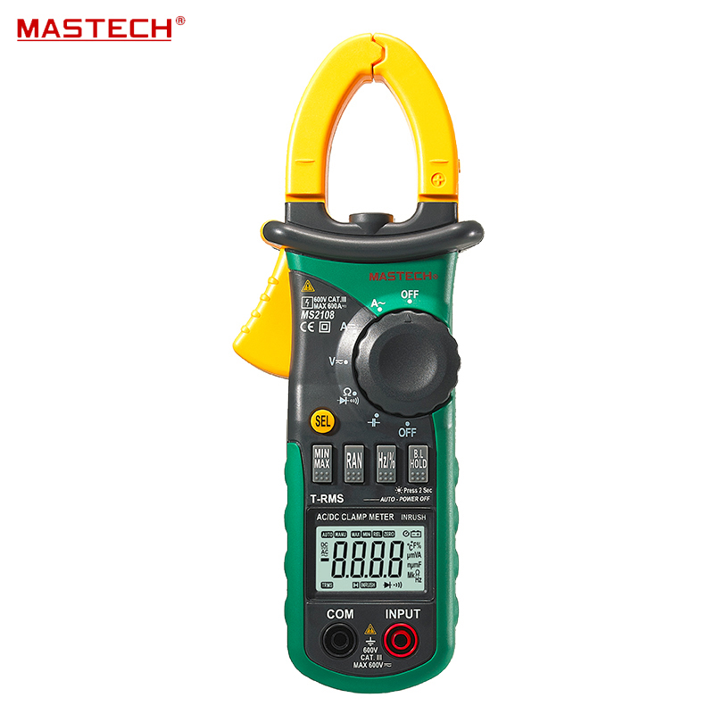 MASTECH MS2108 6600 Counts True RMS AC DC Digital Clamp Meter Multimeter Capacitance Frequency Inrush Current Tester aimometer ms2108 true rms ac dc current clamp meter 6600 counts 600a 600v