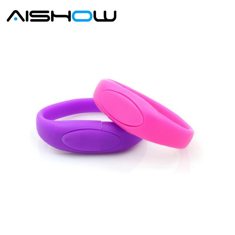 USB Flash Drive Silicone Bracelet Wrist Band Pen Drive USB 2.0 USB Stick 4GB 8GB 16GB 32GB Memory Stick Pendrive Free Shipping