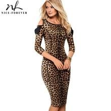 NICE FOREVER VINTAGE Leopard พิมพ์ทำงาน vestidos เย็นไหล่โบว์ธุรกิจ Bodycon สำนักงานผู้หญิงชุด B483