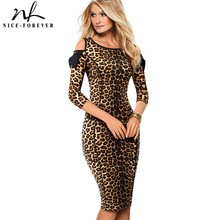 Nice forever Vintage Leopard Printed Work vestidos Cold Shoulder with Bow Business Party Bodycon Office Women Dress B483