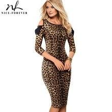 Nice forever vestidos de trabajo con estampado de leopardo Vintage, hombro al aire con lazo, ceñido, para fiesta de negocios y oficina, B483