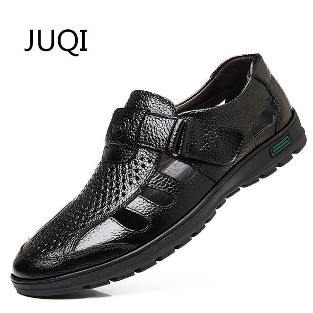 20777c8960e56 JUQI hombres cuero genuino sandalias Hombre verano Casual pescador zapatos  para cuero Breathabl hueco mocasines zapatos