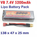 Original VB 2S 7.4V 5200mAh Lipo Battery Pack 30C Max Burst 60C for RC Racing Car Truck Li-Polymer Batteries HPI AXIAL Batteries