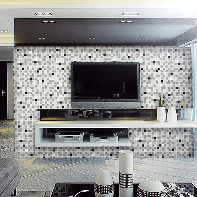 Modern Embossed Mosaic Wallpapers 3D Black White Wall Paper For Living Room  Walls,3D Wallpaper Part 76